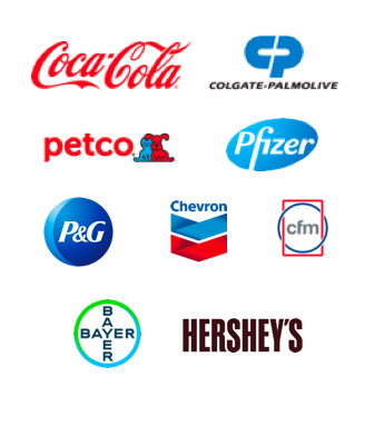 Coca Cola, Colgate Palmolive, Petco, Pfizer, Procter & Gamble, Chevron, CFM, Bayer, Hershey's