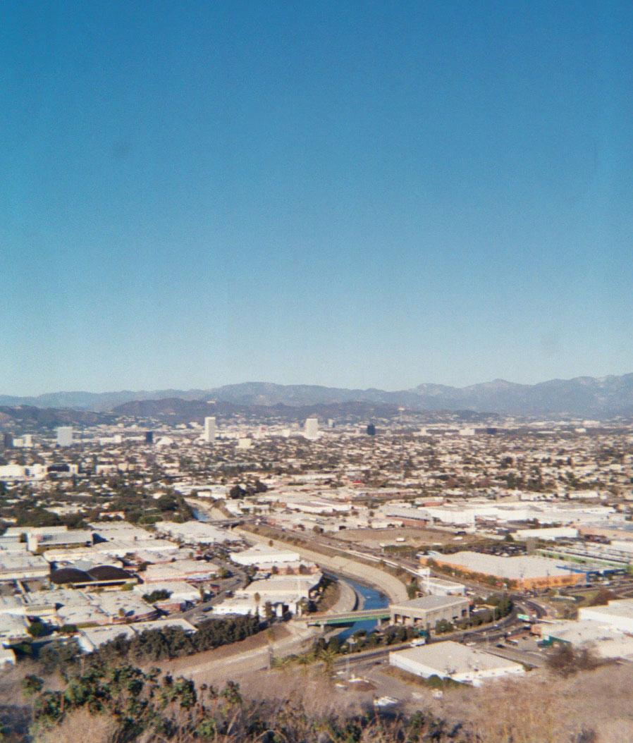 view of LA from Ballona Creek