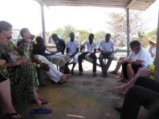 "This picture shows one of several discussions with students and lecturers from Flensburg, Lomé and Winneba at ""Groß Friedrichsburg"", a German slave castle close to Princes Town (Ghana)"