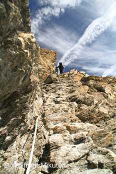 Rocciamelone, Aufstieg mit Seilsicherung - Foto: © Wolfram Mikuteit