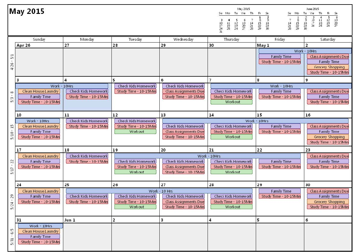 Example Time Management Calendar