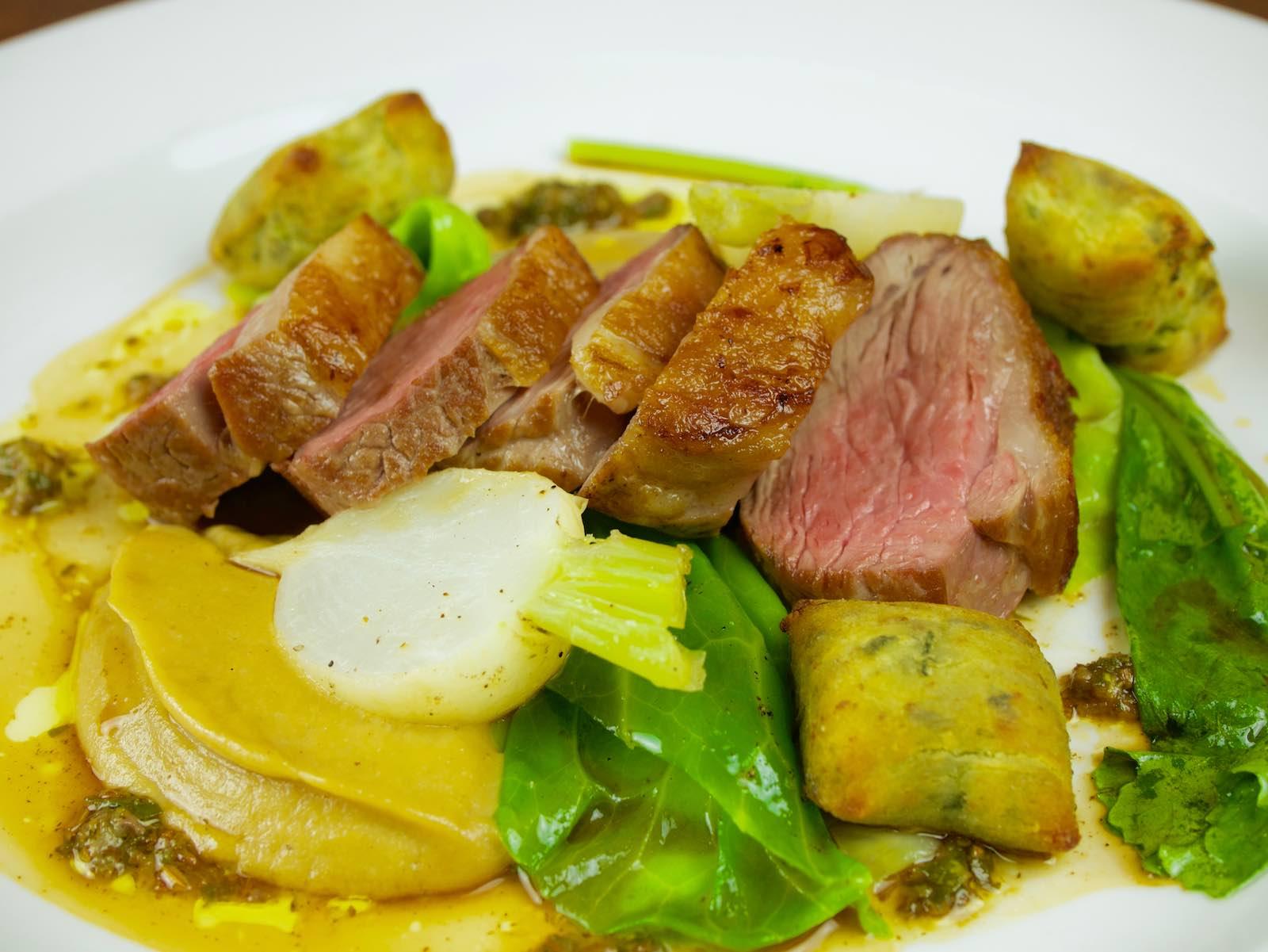 New-season-spring-lamb-chump-onion-puree-hispi-cabbage-wild-garlic-gnocchi-anchovy-marjoram-and-Ramsbury-virgin-rapeseed-oil-dressing-web-page