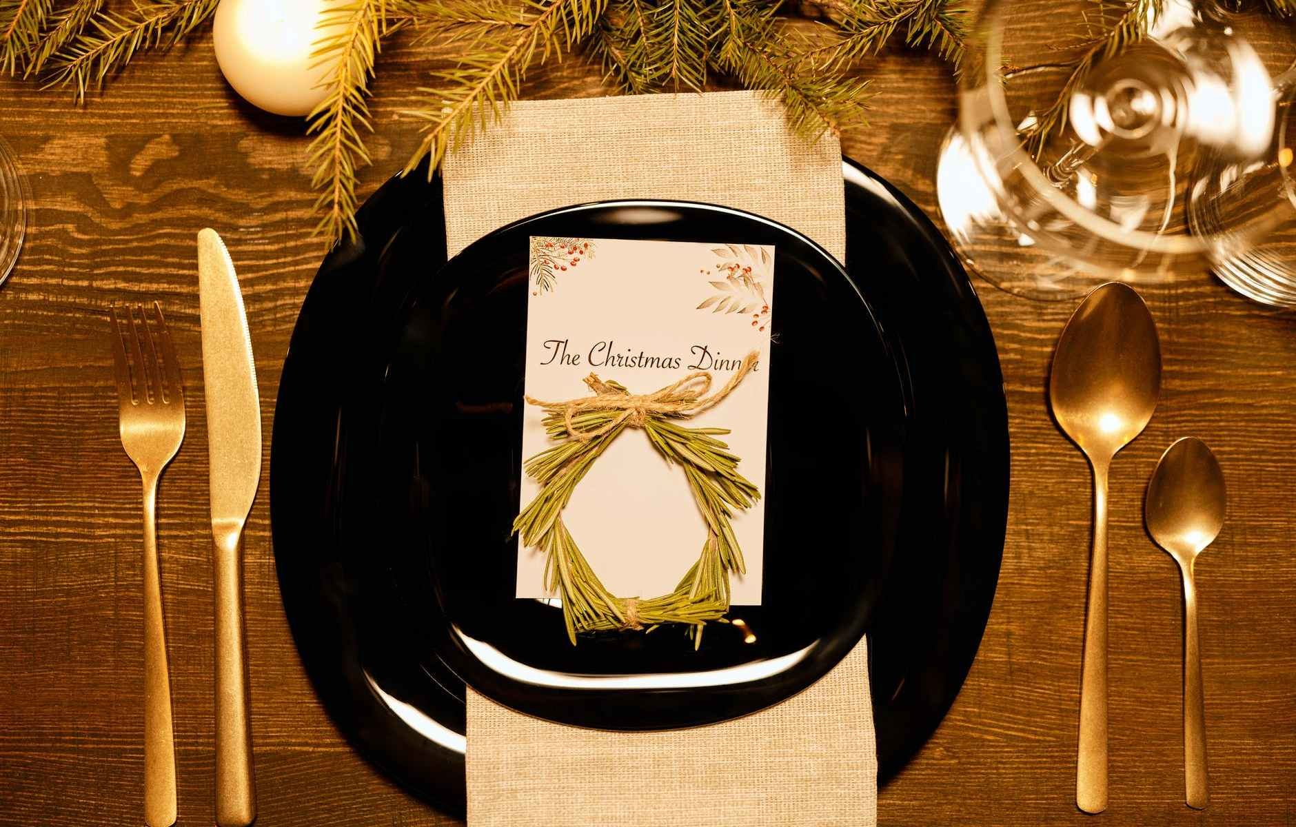 top view of a christmas dinner card on a plate