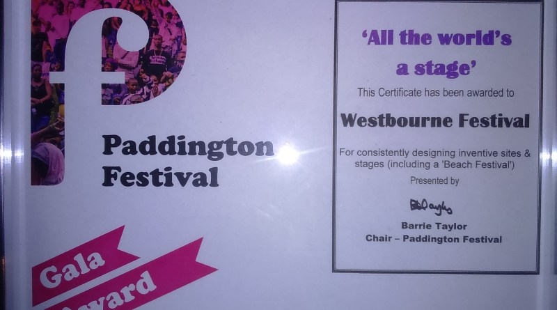 Paddington Festival Gala 'All the world's a stage' award to Westbourne Forum with particular reference to the Beach Festival.