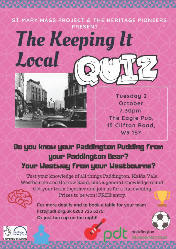 Mary Mags Pub Quiz flyer for event Tuesday 2 October 2018. 7.30 pm. The Eagle Pub, 15 Clifton Road, W9 1SY.