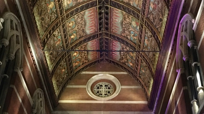 Image of the ornate interior of the roof of St Mary Magdalene Church beside the canal