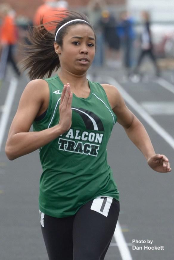 Photo by Dan Hockett West Burlington – Notre Dame's Jazlan Boyd runs the 100-meter dash at the West Burlington Coed Relays Saturday in West Burlington. Boyd took fourth place in Class-B title with 13:90 seconds.
