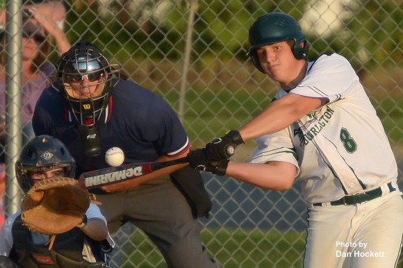 Photo by Dan Hockett West Burlington scores first with this homerun from Cameron Guihan in the second inning against Notre Dame Monday night in West Burlington. Notre Dame defeated West Burlington, 5-4 in 9-innings.