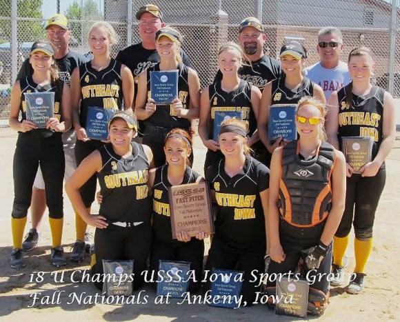 The Southeast Iowa Hawks Gold 18U fastpitch softball team won the USSSA ISP 18UA Fall Nationals Labor Day weekend in Ankeny, Iowa.  The team went undefeated with a record of 8-0.   Front from Left:  Brandall Diaz, Sydney Burnett, Hailey Cox, Marisa Repp,  Middle from Left: Courtney Coffin, Morgan Christner, Kori Mesecher, Kelci Hill, Machaela Diaz, Riley Hale Back from Left:  Coaches Rod Mesecher, Chad Christner, Greg Hale, and Steve Coffin Not pictured:  Jorgi Krieger, Victoria Noel, and Coach Mickey Diaz