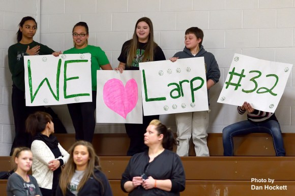Photo by Dan Hockett Fans show their support for West Burlington Senior Mickenzie Larpenter Monday night in West Burlington.