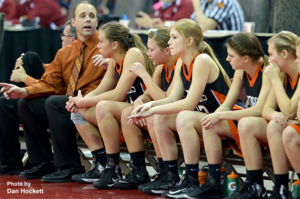 Photo by Dan Hockett Mediapolis' bench displays tears and disappointment late in the game with MOC-Floyd Valley Thursday in the Class-3A State Semifinal game at Wells Fargo Arena in Des Moines.