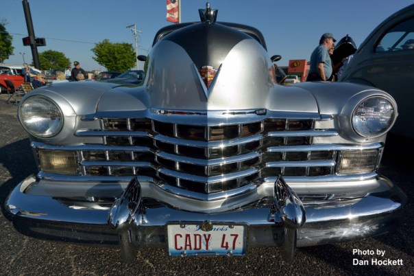 Photo by Dan Hockett A 1947 Cadillac on display during Cruise Night at Heartland Harley Davidson on Roosevelt Avenue in Burlington Saturday afternoon.