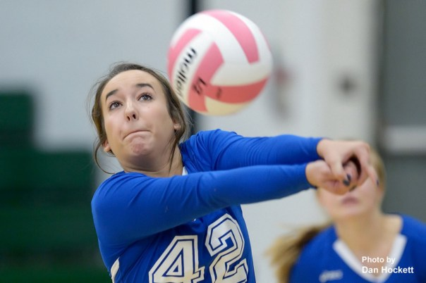 Photo by Dan Hockett Danville's Lexi Sweet keeps the ball in play against West Burlington Tuesday night in West Burlington. West Burlington defeated Danville, 25-14, 25-16, 25-20.