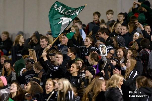 Photo by Dan Hockett West Burlington / Notre Dame Fans cheer for their Falcons Friday night in West Burlington.