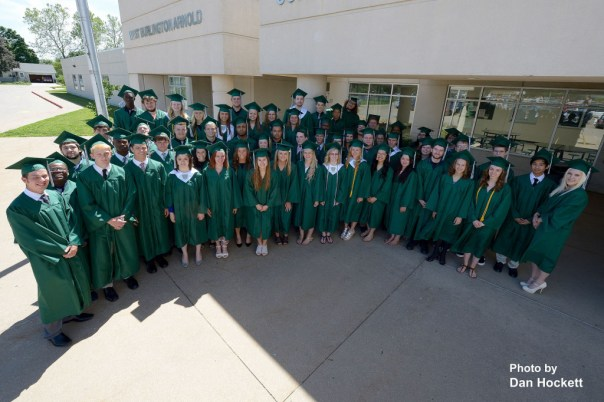 Photo by Dan Hockett West Burlington High School Seniors pose for photo before graduation ceremonies begin Sunday afternoon in West Burlington.
