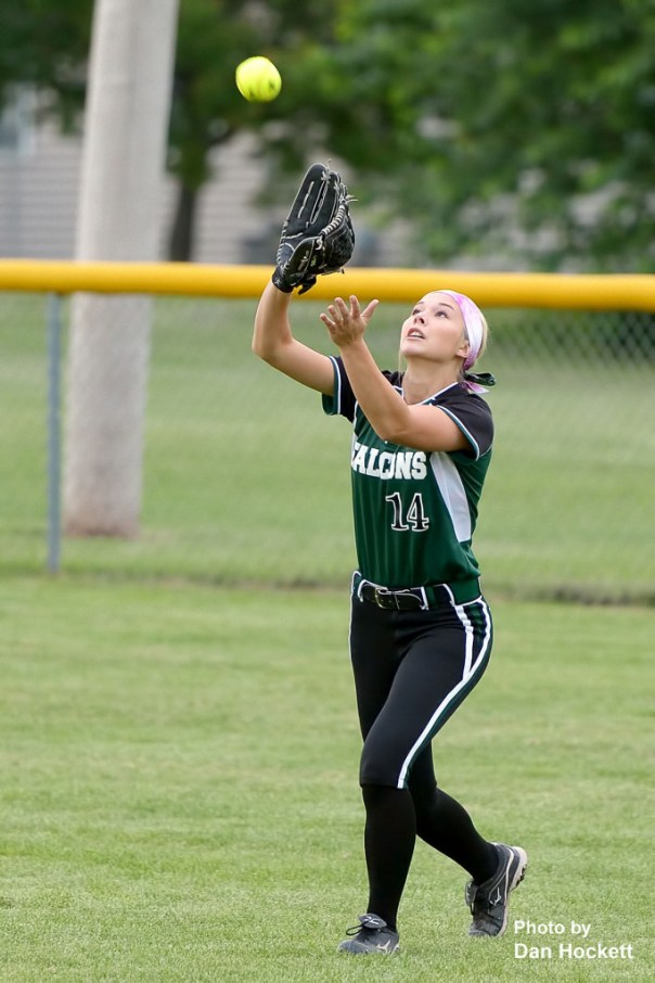 Photo by Dan Hockett West Burlington –Notre Dame Right-Fielder Reagan Rogerson catches a West Liberty popup for the out in the first round of Regional play Wednesday night at West Liberty. West Liberty defeated WBND, 3-1.