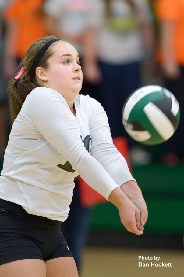 Photo by Dan Hockett West Burlington Libero Haley Snyder bumps the ball back in to play against Cardinal Tuesday night in West Burlington. WB fell to Cardinal, 25-20, 25-21, 22-25, 17-25, 11-15.