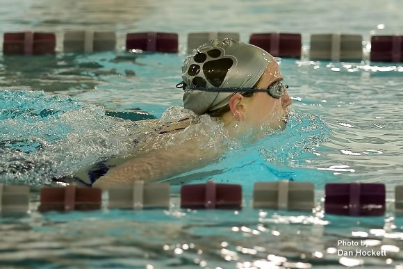 Photo by Dan Hockett West Burlington Freshman Makenna Brockett swims for the Burlington Grayhounds in the 200-yard Medley Relay Thursday at Burlington – Fairfield – Keokuk Swim Meet in Burlington.