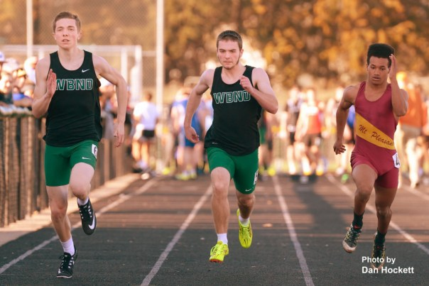 Photo by Dan Hockett West Burlington – Notre Dame's Jack Giannettino (left) and Austin Mixer (center) run the 100-meter dash at the Falcon Relays in West Burlington Monday.