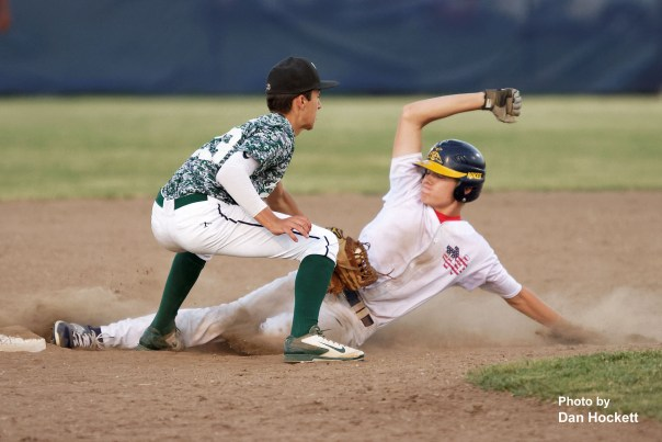Photo by Dan Hockett West Burlington Second Baseman Masin Shullaw tags Notre Dame's Owen Yacko out as he tries to steal second in the fifth inning Thursday night in Burlington. Notre Dame defeated West Burlington, 3-1.