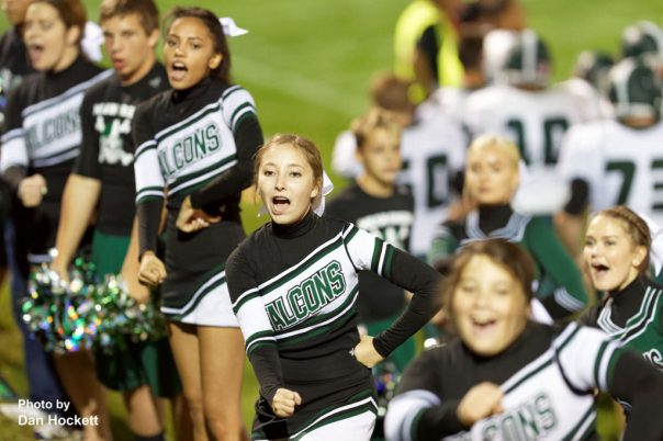 West Burlington – Notre Dame Cheerleaders cheer their team Friday night in West Branch.