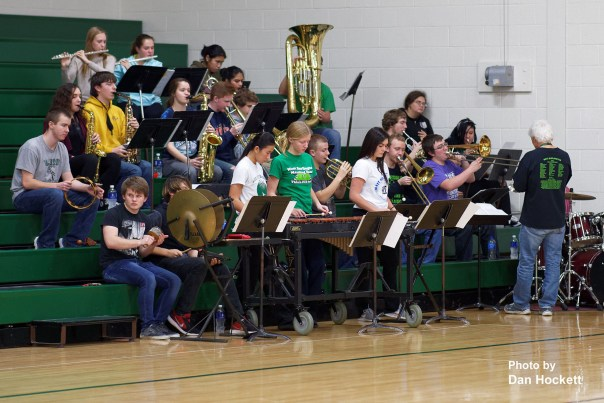 Photo by Dan Hockett West Burlington Pep Band entertains during a timeout Friday night in West Burlington.