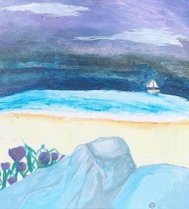 Multi-Medium Painting of a Beach
