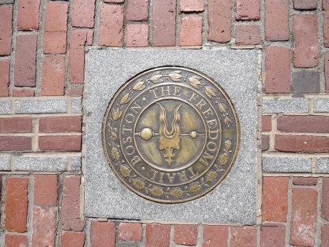 Boston's Freedom Trail marker in North Square