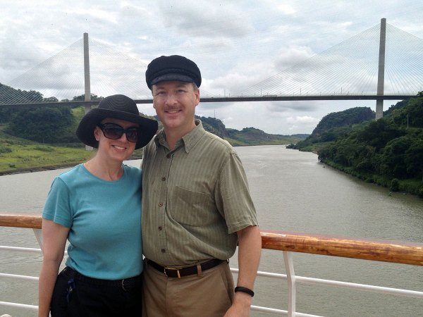 Michelle and Ed at the Centennial Bridge marking the Continental Divide, Panama Canal.