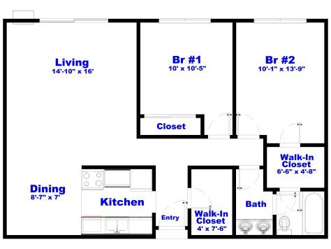 Apt - 2 Br Std Floorplan - Kitchen Left