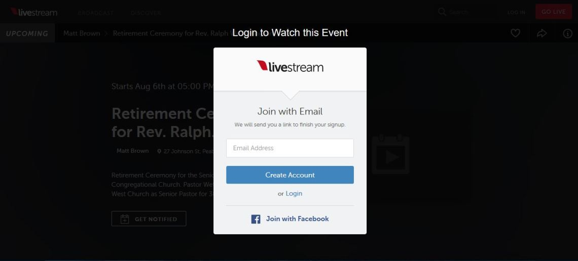 Livestream Join & Login Page