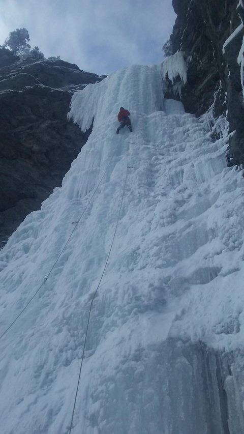 Denis looking solid on the main pillar of Capricorn (Nelson Pelson)