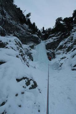 Here we are rappelling the route, the tiered formations of ice reminded us of Proffessor Falls in Banff. (Hunter Lee)