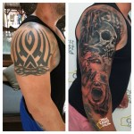 Tribal cover up is the only things that you can do.