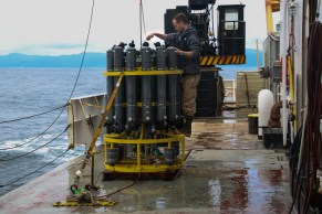 Ryan McCabe prepares the CTD for the next station. Photo Credit: Meghan Shea