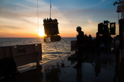 CTD being retreived during a beautiful sunset. Photo Credit: Meghan Shea