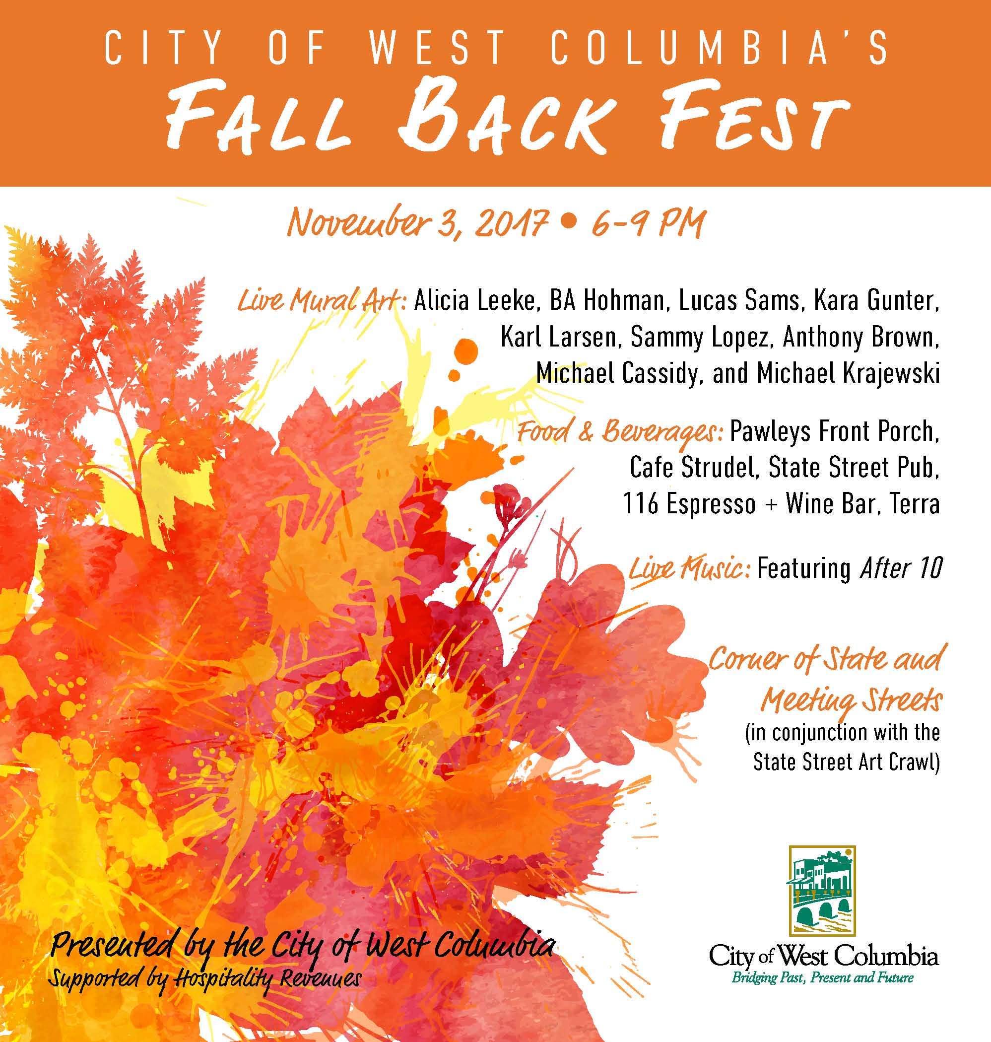 City of West Columbia to Host Fall Back Fest on Friday November 3