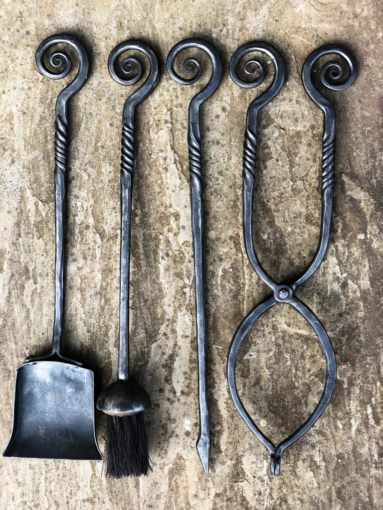 Hand Forged Scroll Top Fire Tools West Country Blacksmiths