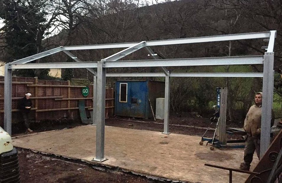 Structural metalwork for a new workshop in Somerset