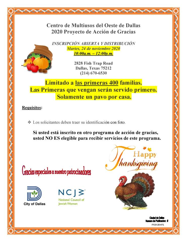 2020 WDMC Thanksgiving Flyer (Spanish)