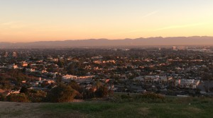 The Los Angeles basin at sunrise, overflowing with inhabitants.
