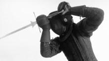 HEMA fighter in full sparring kit