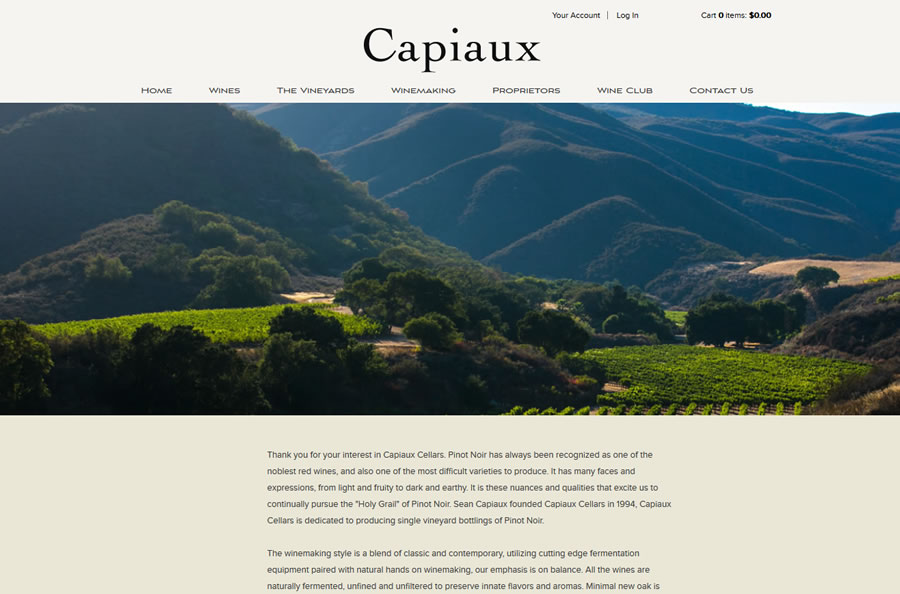 Capiaux Cellars website