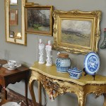 Rococo Style Console and Oil Paintings