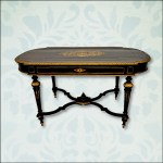ebonized and bronze inlay french table
