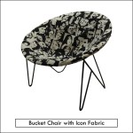 bucket chair with icon upholstery