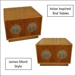 pair james mont style low cabinets