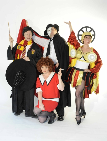 Steven Kynman, Sophie Louise Dann, Alasdair Harvey, and Anna-Jane Casey in Forbidden Broadway at Menier Chocolate Factory
