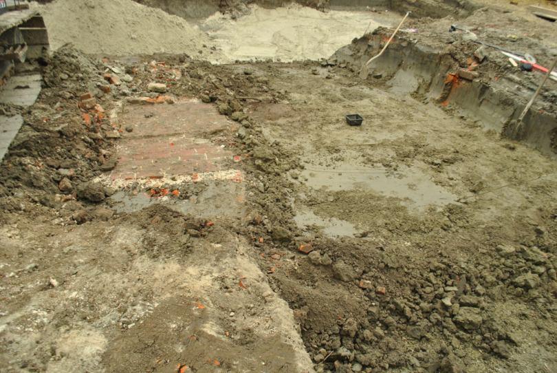Overzichtsfoto van de opgravingssleuf