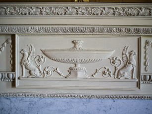 Hylands House - small dining room, fireplace detail